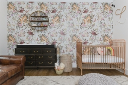 Gold Rose baby cot by Incy Interiors. Baskets by The little market.