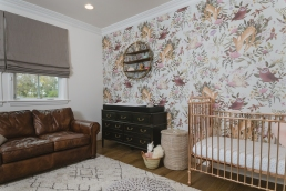 Rose Gold Baby Cot by Incy Interiors. Basket by The little market.